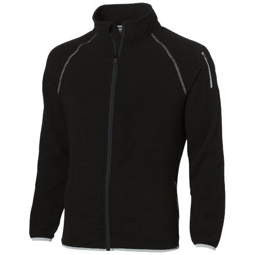 Drop shot full zip micro fleece jacket in black-solid