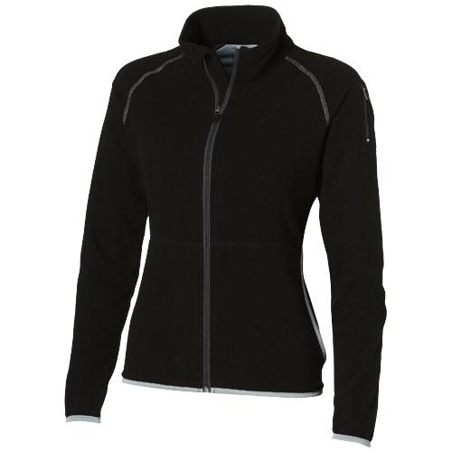 Drop shot full zip micro fleece ladies jacket in black-solid