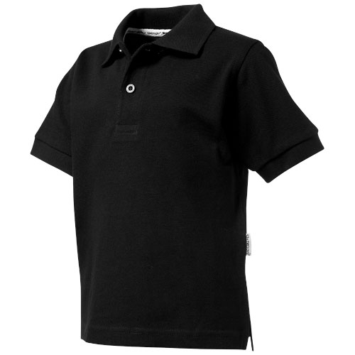 Forehand short sleeve kids polo in black-solid