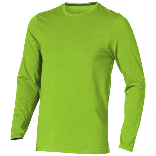 Ponoka long sleeve men's organic t-shirt in apple-green