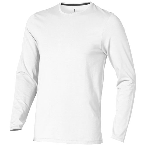 Ponoka long sleeve men's organic t-shirt in white-solid