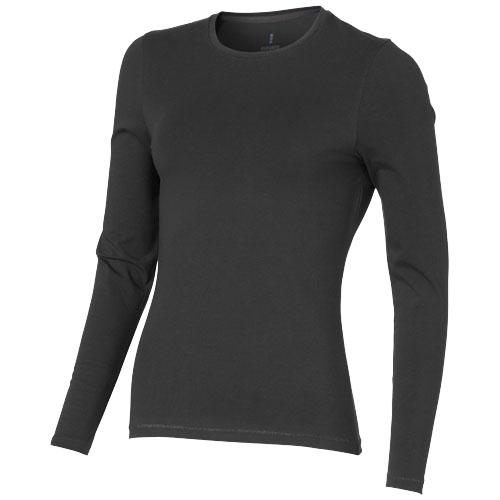 Ponoka long sleeve women's organic t-shirt in anthracite