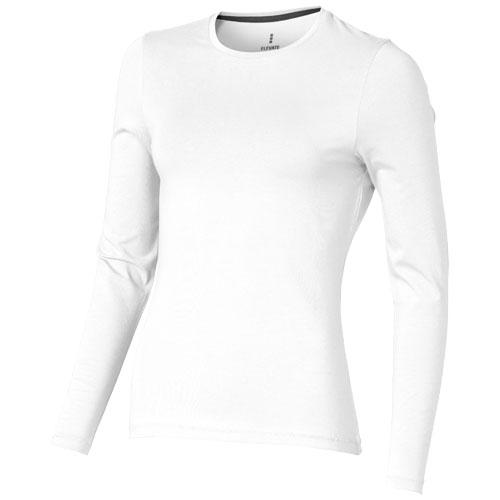 Ponoka long sleeve women's organic t-shirt in white-solid