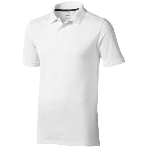 Calgary short sleeve men's polo in white-solid
