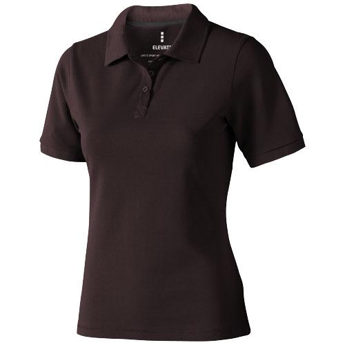 Calgary short sleeve women's polo in chocolate-brown