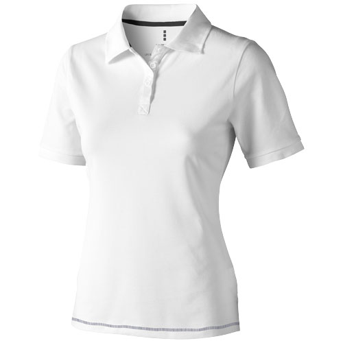 Calgary short sleeve women's polo in white-solid-and-navy