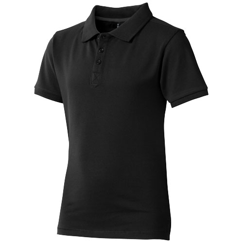 Calgary short sleeve kids polo in black-solid