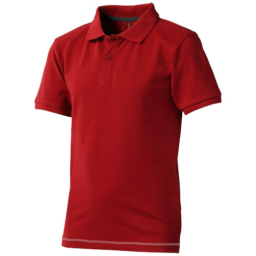 Calgary short sleeve kids polo in red-and-white-solid