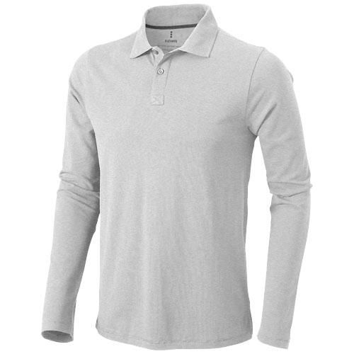 Oakville long sleeve men's polo in grey-melange