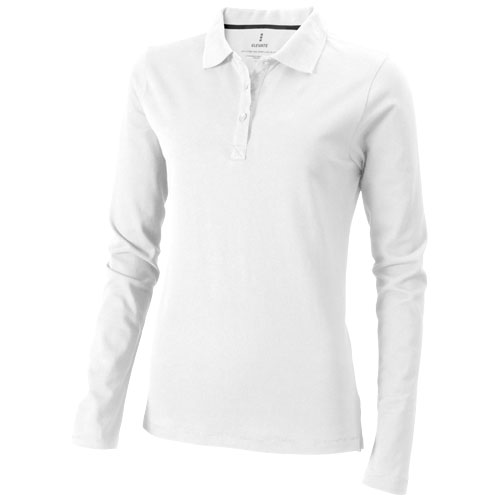 Oakville long sleeve women's polo in white-solid