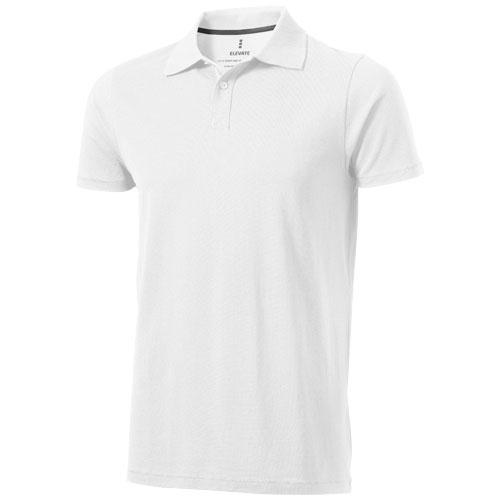 Seller short sleeve men's polo in white-solid