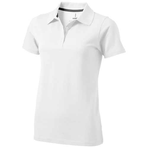 Seller short sleeve women's polo in white-solid