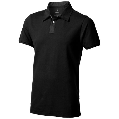 York short sleeve Polo in black-solid
