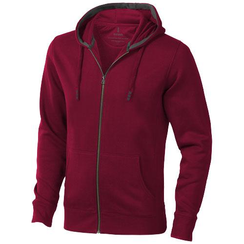 Arora hooded full zip sweater in burgundy