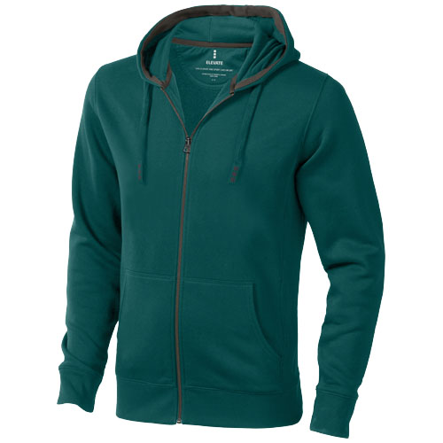 Arora hooded full zip sweater in forest-green