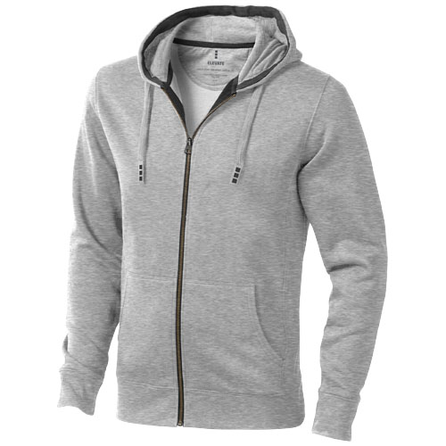 Arora hooded full zip sweater in grey-melange