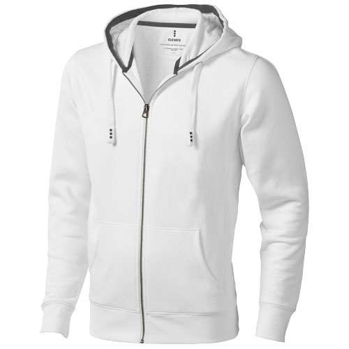Arora hooded full zip sweater in white-solid