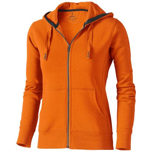 Arora hooded full zip ladies sweater in orange