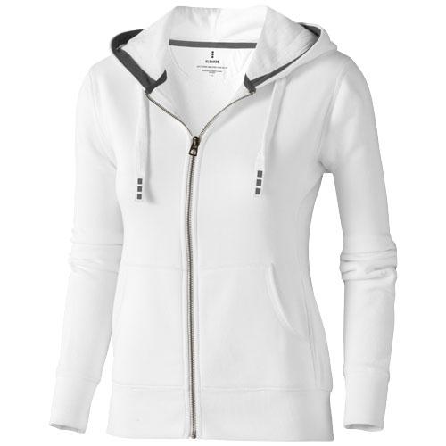 Arora hooded full zip ladies sweater in white-solid