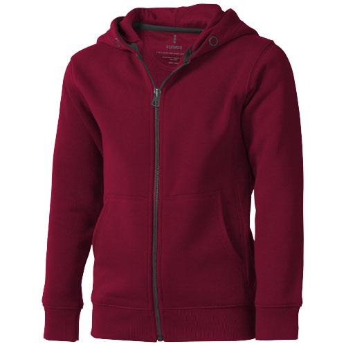 Arora hooded full zip kids sweater in burgundy