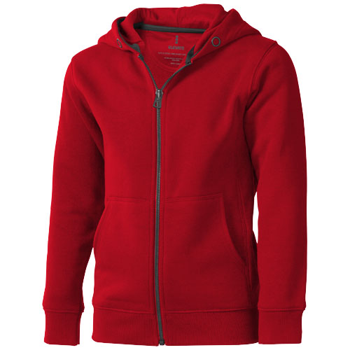 Arora hooded full zip kids sweater in red