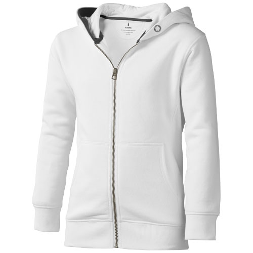 Arora hooded full zip kids sweater in white-solid