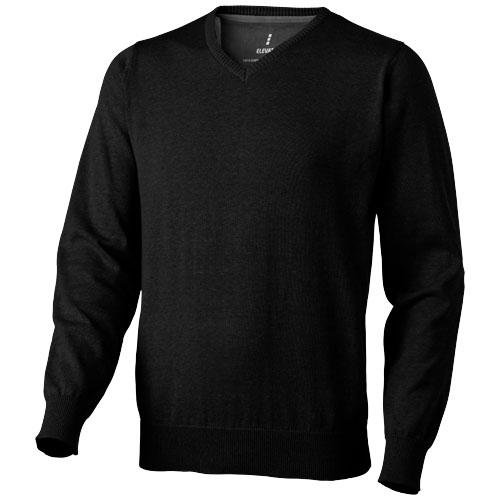 Spruce V-neck pullover in black-solid