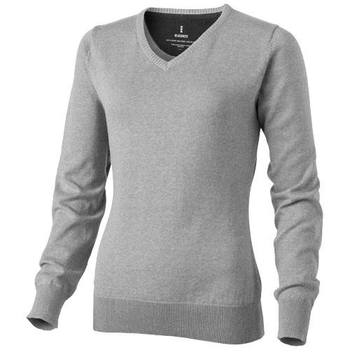 Spruce ladies V-neck pullover in grey-melange