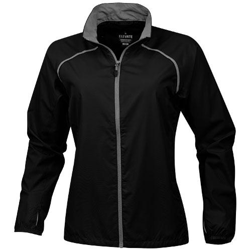Egmont packable ladies jacket in black-solid