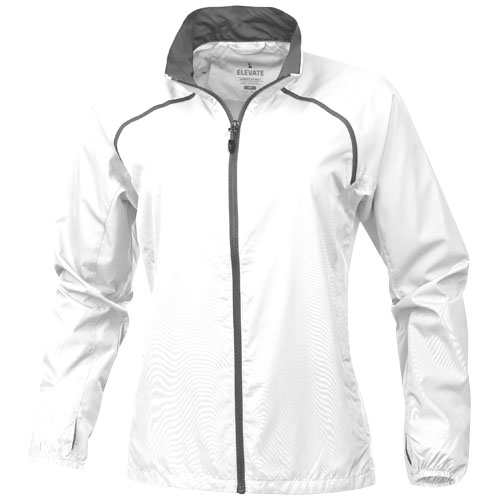 Egmont packable ladies jacket in white-solid