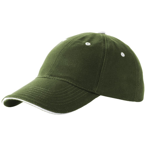 Brent 6 panel sandwich cap in army-green