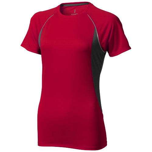 Quebec short sleeve women's cool fit t-shirt in red-and-anthracite