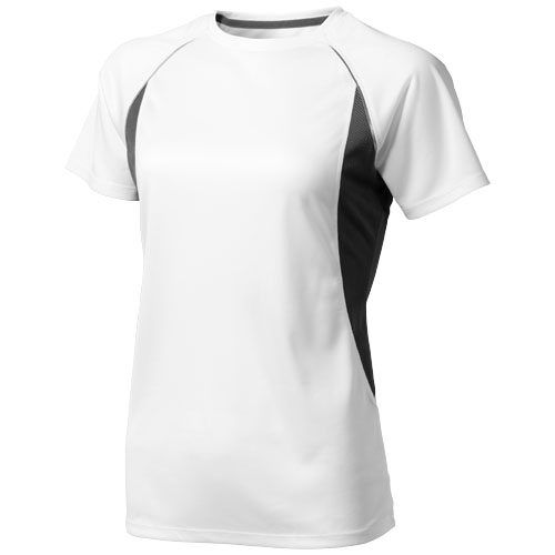 Quebec short sleeve women's cool fit t-shirt in white-solid-and-anthracite