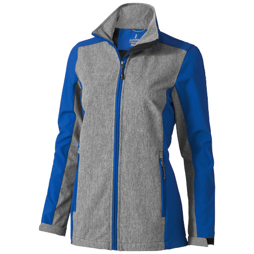 Vesper ladies softshell jacket in blue-and-heather-charcoal