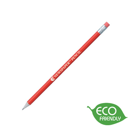 Newspaper Pencil in red-silver