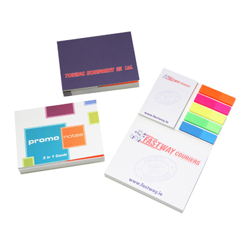 3 In 1 Combi Set (2 Sticky Note Pads) in white-multi-coloured