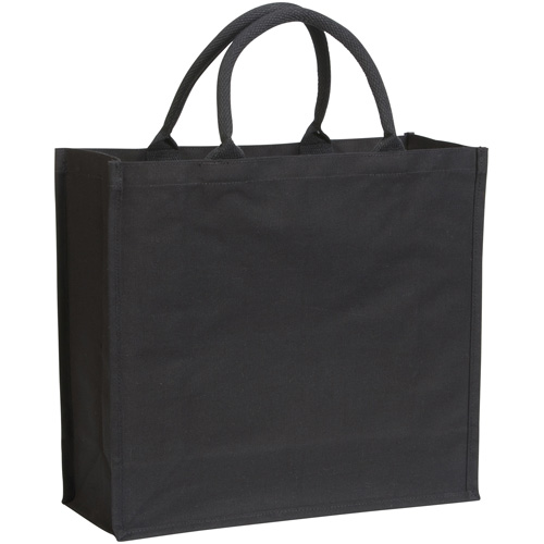 Broomfield 7oz Laminated Cotton Canvas Tote Bag in black