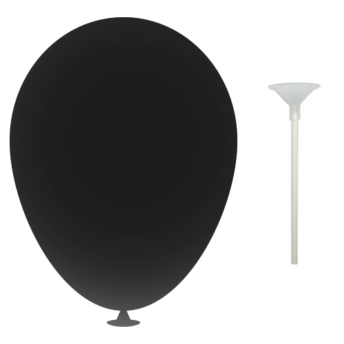 12 Inch Latex Balloons with Cup and Stick in black