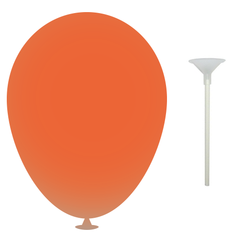 12 Inch Latex Balloons with Cup and Stick in burnt-orange