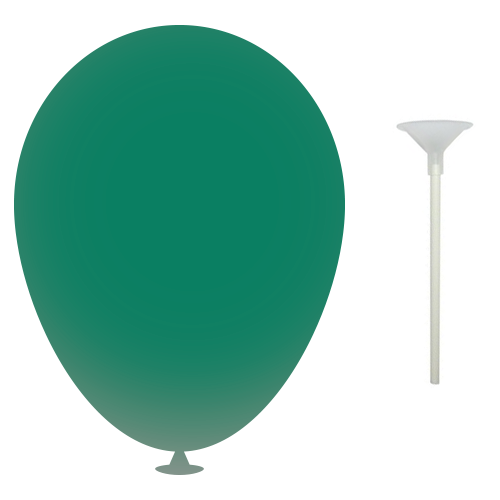 12 Inch Latex Balloons with Cup and Stick in dark-green