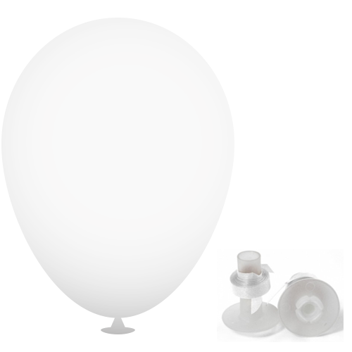 12 Inch Latex Balloons with Helium Valve – HeliValve in white