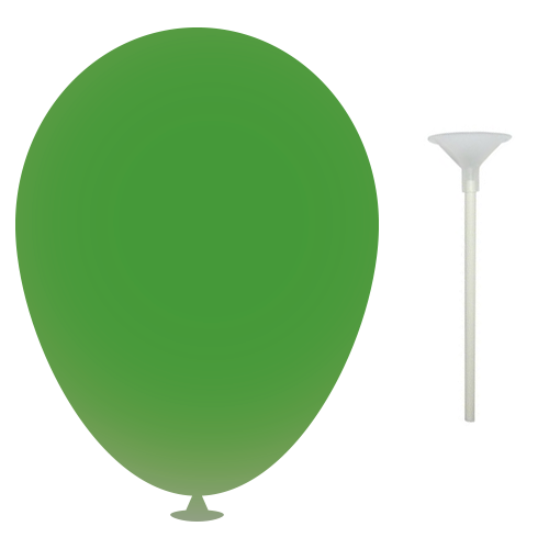 10 Inch Latex Balloons with Cups and Sticks in green
