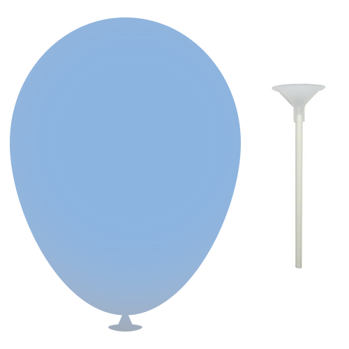10 Inch Latex Balloons with Cups and Sticks in light-blue