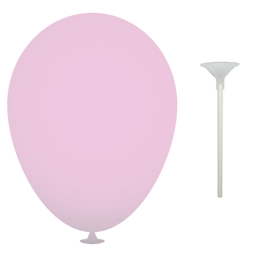 10 Inch Latex Balloons with Cups and Sticks in light-pink