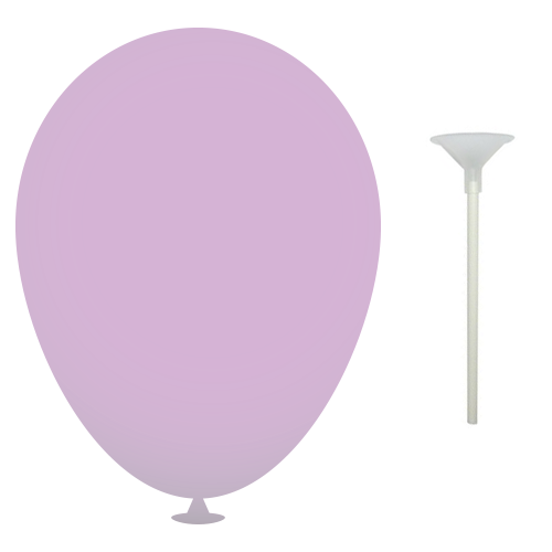 10 Inch Latex Balloons with Cups and Sticks in lilac