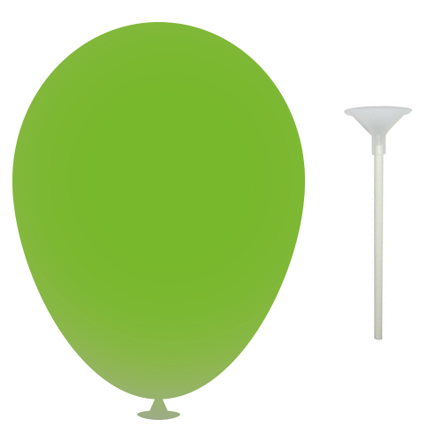 10 Inch Latex Balloons with Cups and Sticks in lime