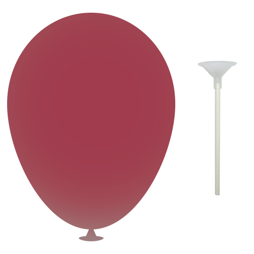10 Inch Latex Balloons with Cups and Sticks in maroon