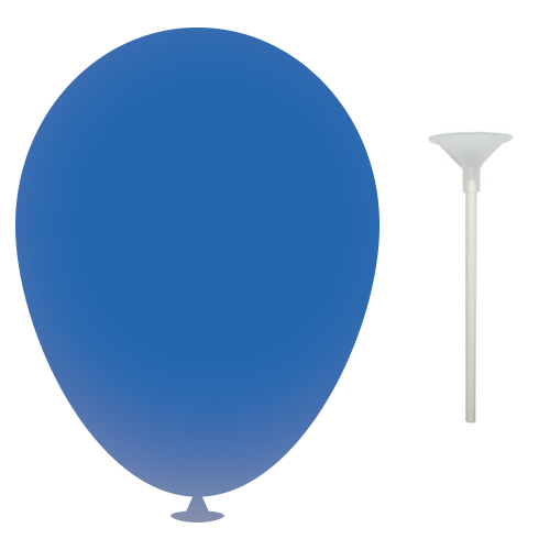 10 Inch Latex Balloons with Cups and Sticks in mid-blue
