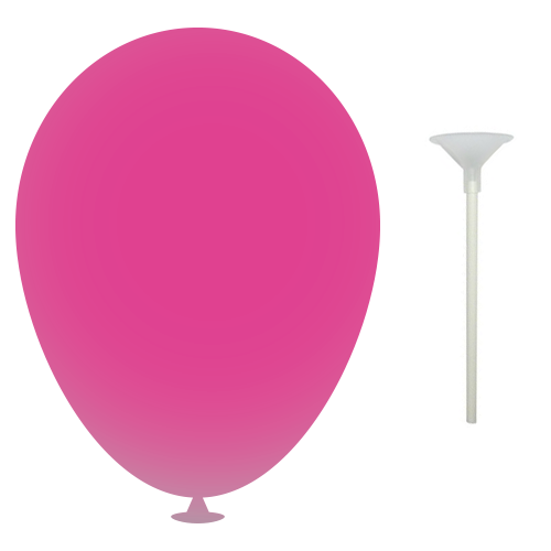 10 Inch Latex Balloons with Cups and Sticks in pink