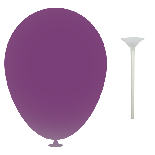 10 Inch Latex Balloons with Cups and Sticks in purple